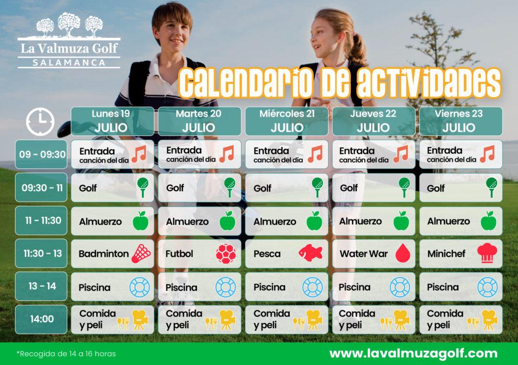 Calendario campus verano de golf Salamanca